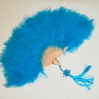 新品 特大羽扇子 ジュリアナ 大きな紐飾り付き 水色(小道具)