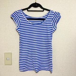 ブルー×ホワイトボーダー Tシャツ マリンストライプ(Tシャツ(半袖/袖なし))