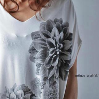 アンティカ(antiqua)のアンティカ ダリア 花柄 トップス Tシャツ(Tシャツ(半袖/袖なし))