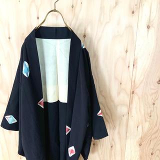 【希少】90s HAORI 和モード デザイン羽織 花柄 菊紋 モードMIX