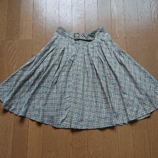 バーバリーブルーレーベル(BURBERRY BLUE LABEL)の美品 バーバリーブルーレーベル フレアドレスチェック柄スカート(ひざ丈スカート)