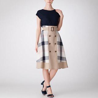 バーバリーブルーレーベル(BURBERRY BLUE LABEL)の2019 クレストブリッジチェックウェザースカート(ひざ丈スカート)
