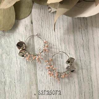 542 pink×grey beads branch earrings(ピアス)