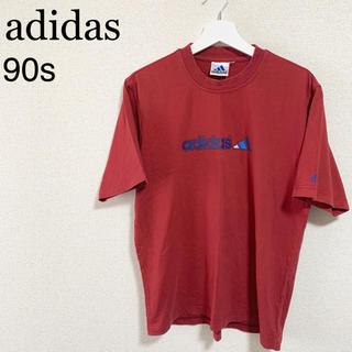 アディダス(adidas)の90s adidas Tシャツ メンズL ワインレッド ロゴマーク 古着(Tシャツ/カットソー(半袖/袖なし))