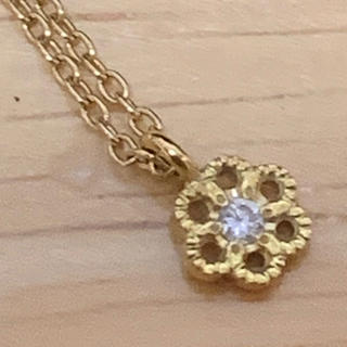 agete - hum ネックレス K18 ダイヤモンド