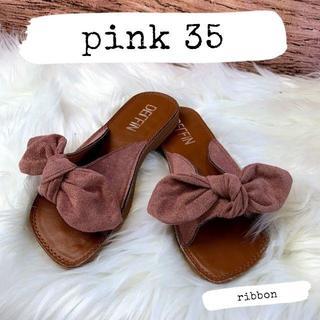 【35】ピンク リボン サンダル 夏 可愛い シンプル 靴 フラット 429(サンダル)