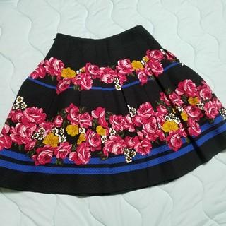 エムズグレイシー(M'S GRACY)の美品 エムズグレイシー 花柄スカート(ひざ丈スカート)