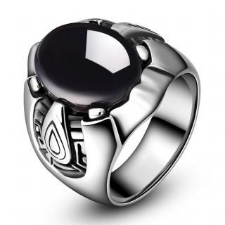 ステンレス リング 指輪 ブラック 黒 ストーン アンティーク風 (リング(指輪))