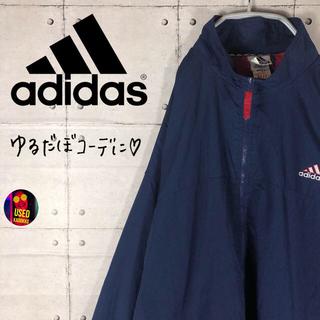 adidas - アディダス◆ビッグシルエット ワンポイント刺繍ロゴ ナイロンジャケット
