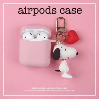スヌーピー(SNOOPY)のスヌーピー 可愛いチャーム付き airpodsケース ピンク(モバイルケース/カバー)