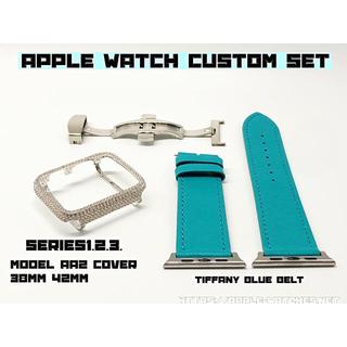 アップルウォッチ(Apple Watch)のseries1.2.3ティファニーブルーレザーA2カスタムカバーアップルウォッチ(腕時計(デジタル))