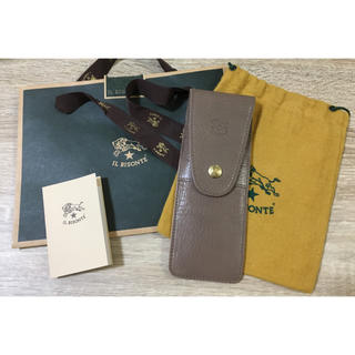 IL BISONTE - 正規品 イルビゾンテ イタリアンレザー ペンケース 本革 保存袋 紙袋 グレー