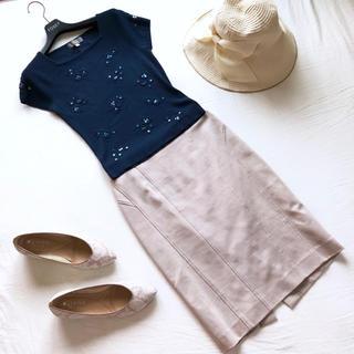 ピンキーアンドダイアン(Pinky&Dianne)の美品 ピンキー&ダイアン ストレッチタイトスカート ベージュ(ひざ丈スカート)