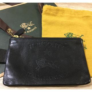イルビゾンテ(IL BISONTE)の正規品 イルビゾンテ イタリアンレザー ロゴ ポーチ 黒 ブラック 保存袋 紙袋(その他)