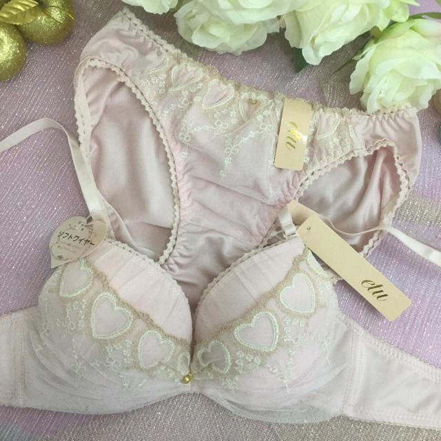 男の娘に大人気!D75Mサイズ ハートピンク ブラショー 女装 レディースの下着/アンダーウェア(ブラ&ショーツセット)の商品写真