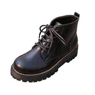 品薄☆レースアップ 厚底 ショート ブーツ ヒール高 5cm 黒(ブーツ)