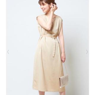 ナチュラルクチュール(natural couture)の新品 ナチュラルクチュール Iライン ドレス ワンピース 上品 ライトベージュ(ひざ丈ワンピース)