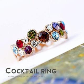 ♥K18ピンクゴールド鍍金/スワロフスキー社製クリスタル(リング(指輪))