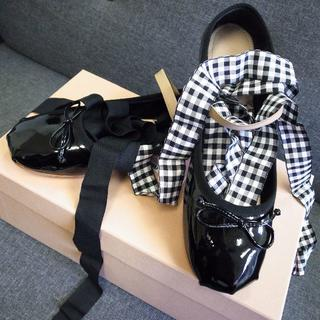 miumiu - 新作未使用☆ミュウミュウ バレエシューズ レースアップ 靴 パンプス バッグ