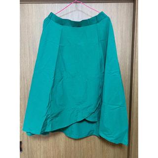 グリーン フレアスカート(ひざ丈スカート)