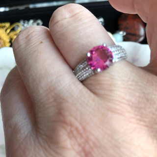 8日迄ピンクリング 多分宝石ですが不明14号(リング(指輪))