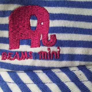 コドモビームス(こども ビームス)のBEAMS mini  52㎝ ビームス 白×青 ストライプ ぞうさん 帽子(帽子)