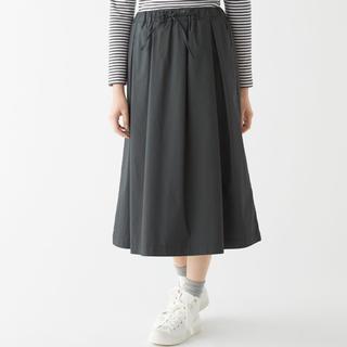ムジルシリョウヒン(MUJI (無印良品))の無印良品  インド綿混ダンプイージーギャザースカート  婦人M・ダークグレー (ロングスカート)