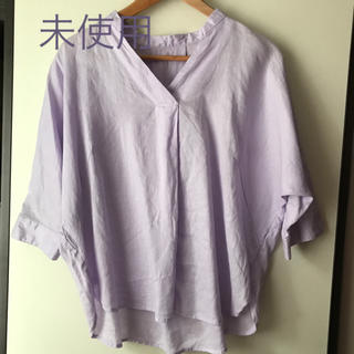 GU - GU フレンチリネンスキッパーシャツ 7分袖 パープル M