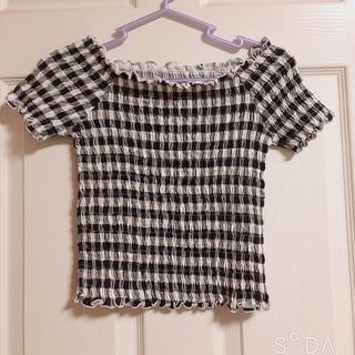 ジーユー(GU)のGU ギンガムチェックトップス(シャツ/ブラウス(半袖/袖なし))