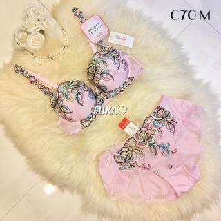 C70♡トリンプ ジュエリング TR0025 プレミアム ブラ&ショーツ ピンク