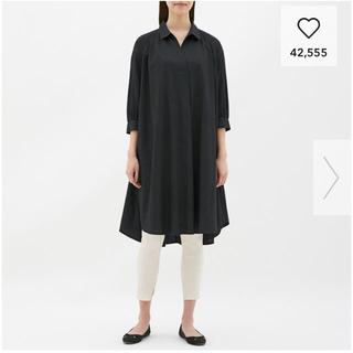 GU - Aラインシャツワンピース 7分袖