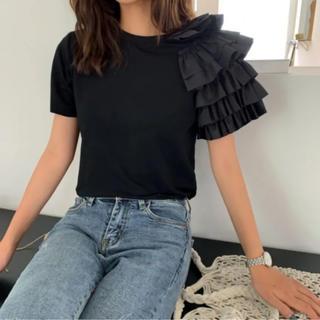 ZARA - バースデーバッシュ birthdaybash フリルTシャツ black