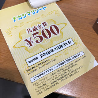 ナガシマリゾート  500円 共通金券(遊園地/テーマパーク)