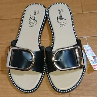 シマムラ(しまむら)のしまむら プチプラのあや バックル  サンダル  PVC  黒 【M】 (サンダル)