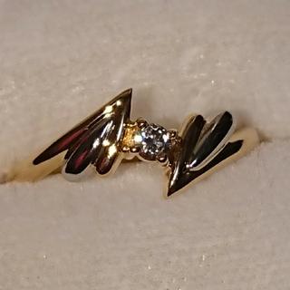 K18×Pt900天然ダイヤファッションリング(リング(指輪))