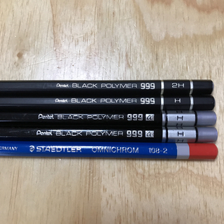 ペンテル(ぺんてる)の廃盤 ブラックポリマー999 使用品 4本 +1本(鉛筆)