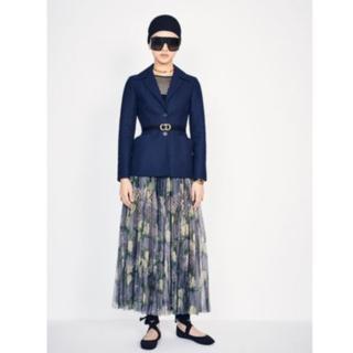 ディオール(Dior)のDIOR(ディオール) プリーツ スカート コットン チュール 花柄(ロングスカート)