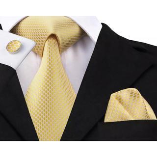 高級 ネクタイ ポケットチーフ カフス 3点セット C-4
