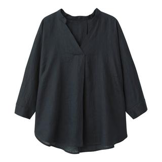 GU - 試着のみ GU フレンチリネンスキッパーシャツ 紺 ネイビー Lサイズ