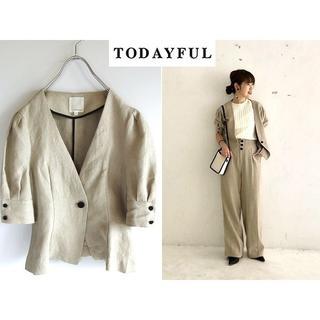 TODAYFUL - 美品 完売 TODAYFUL 18SS リネン カラーレスジャケット 36