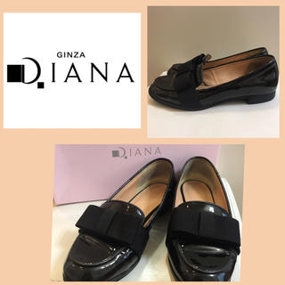 ダイアナ(DIANA)のダイアナ ブラックエナメル  リボン パンプス(ハイヒール/パンプス)