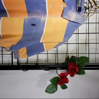 Ralph Lauren - RALPH LAUREN 太ボーダー ポロシャツ ブリーチ加工 青紫オレンジ