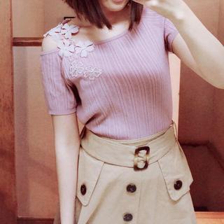 WILLSELECTION - ウィルセレクション♡オフショルビジュー刺繍フラワーニット