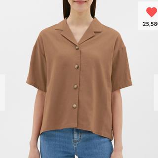 ジーユー(GU)のジーユー  リネンブレンドオープンカラーシャツ(シャツ/ブラウス(半袖/袖なし))