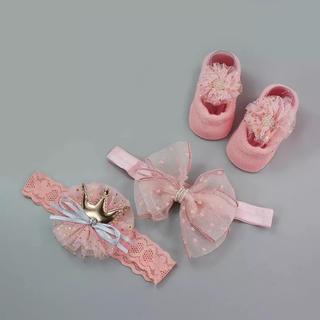 H&M - 輸入 ☆ 新品 新生児 出産祝 3点セット ベビー 靴下 靴 ヘッドアクセ