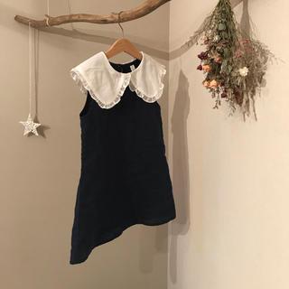 プティマイン(petit main)の襟付きワンピース☆ネイビー(ワンピース)