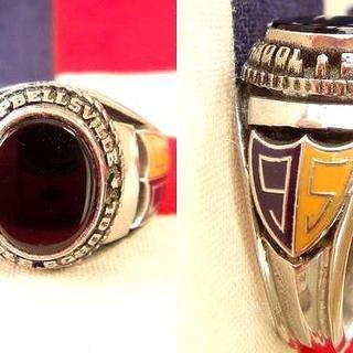 ビンテージ 1995年 シルバー ブラックストーン カレッジリング(リング(指輪))
