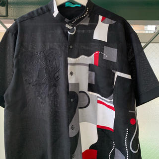 90s 総柄シャツ 個性派 アートシャツ パターンシャツ アシンメトリー 古着