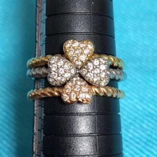18金  プラチナ ダイヤ ハート3連リング  指輪 保証書(証明書)あり(リング(指輪))