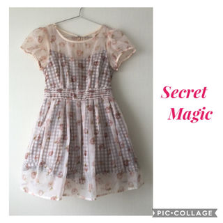 Secret Magic - 無敵ガーリー❤︎ ギンガムチェック オーガンジー 花柄 ハートカット ワンピース